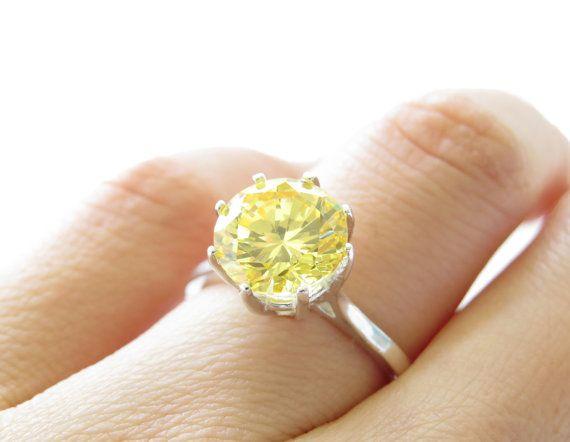 GORGEOUS 3 5 carat Canary Yellow Diamond Simulant Engagement Ring Round Soli