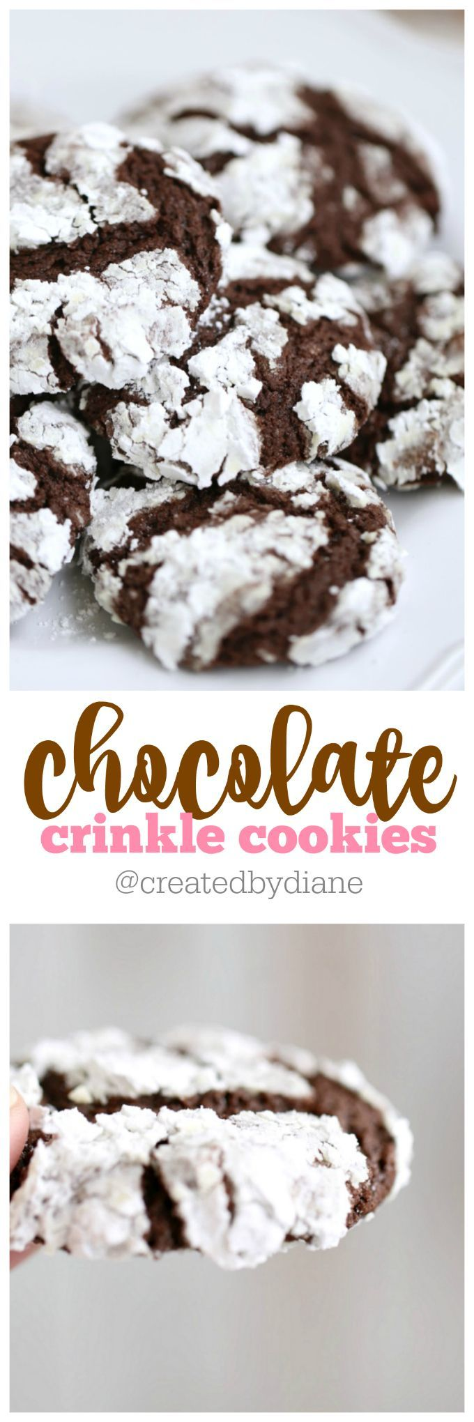 powdered sugar coated easy chocolate crinkle cookies are done quicker and don't need 2 hours in the fridge, just ten minutes a tray.