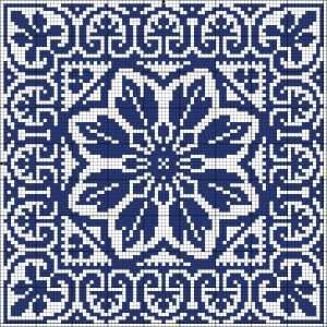 Blue tile | Chart for cross stitch or filet crochet | Wolf et Dupeyron.