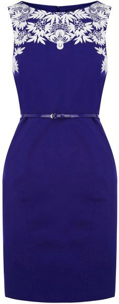 Oasis Blue Embroidered Shift Dress