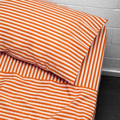 Umbrella Stripe King bed sheet set Orange