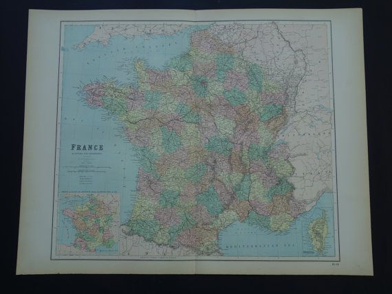 FRANCE 140 years old LARGE map of Paris Corsica  by VintageOldMaps
