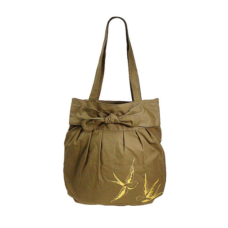 Canvas tote with swallow gild print.