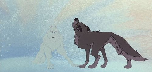 """""""A dog cannot make this journey alone. But maybe...a wolf can."""" gif"""