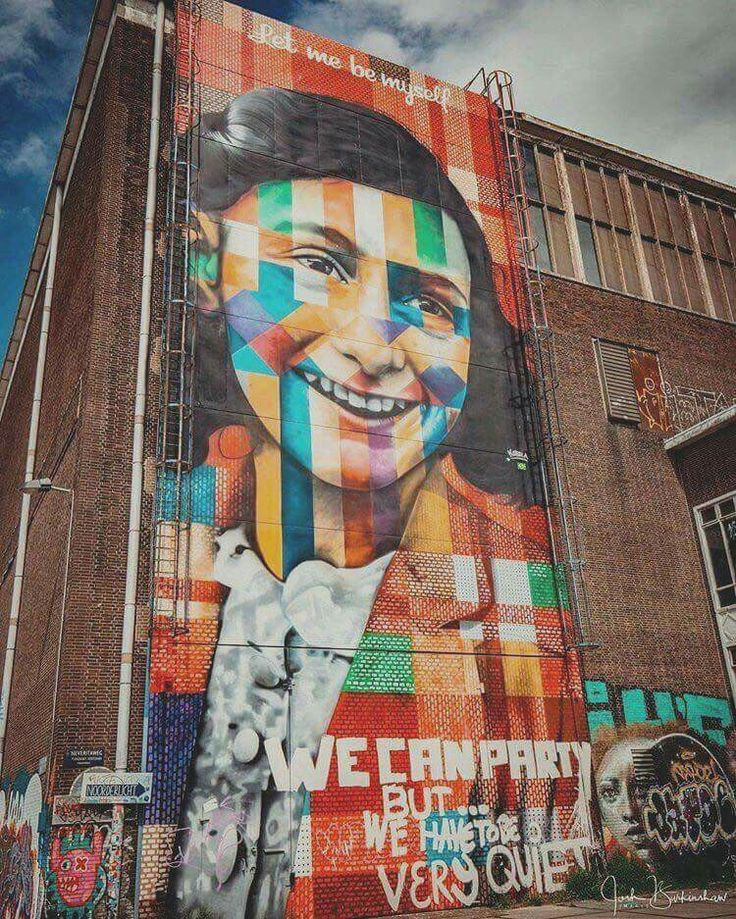 Street Art in AMSTERDAM for Ana Frank ❤️
