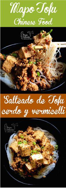 Paladares {Sabores de nati }: Mapo Doufu / Salteado de tofu y carne entre vermicelli. 麻 婆 豆腐, Mapo doufu,    Mapo tofu, tofu, vermicelli, Ching He Huang, carne de cerdo, cerdo, cocina china, reto cooking the chef