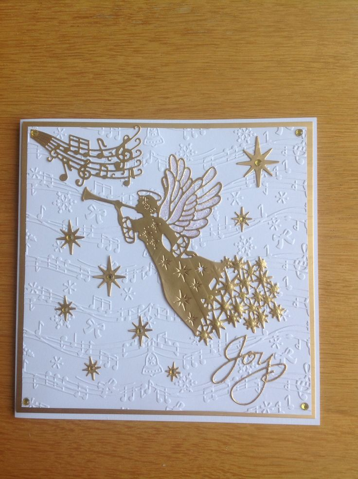 Sue Wilson angel die in gold, Christmas card (With images