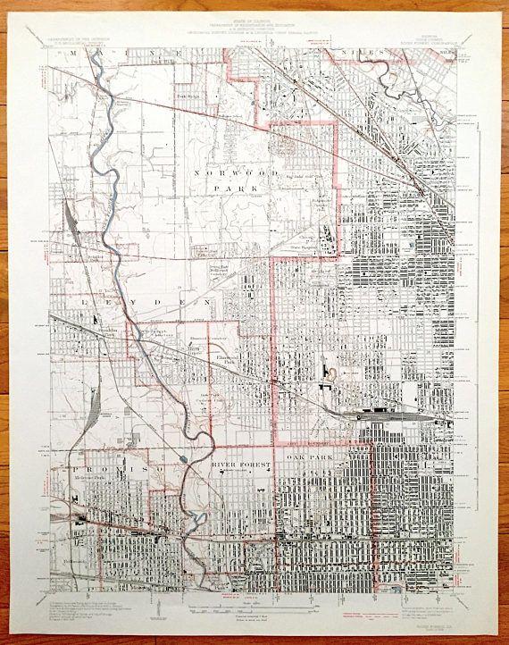 Oak Park Chicago Map.Antique Chicago Illinois 1928 Us Geological Survey Topographic Map