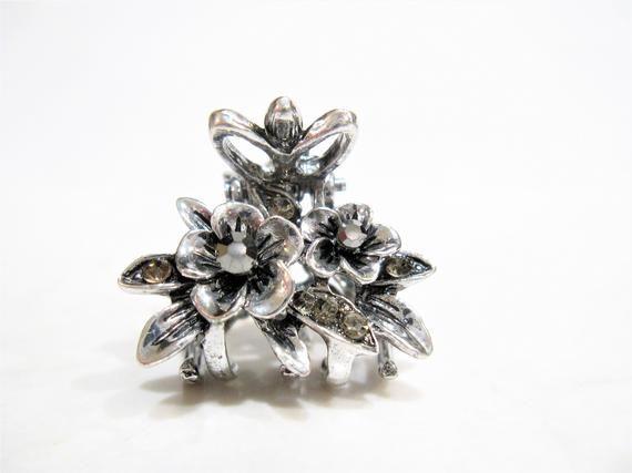 Small Rhinestoned Grey Flower Clip