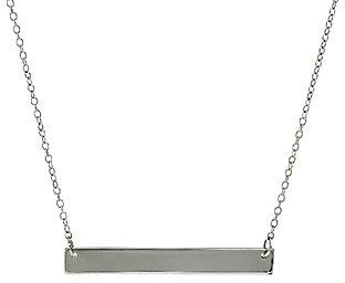 "QVC Sterling 18"" Polished Bar Station Necklace  