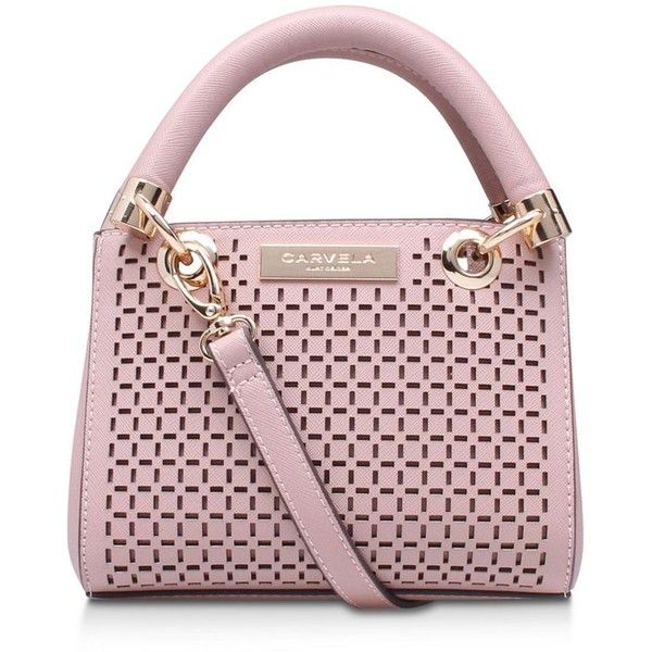 Carvela Pink 'Micro Dee' cut out handbag with shoulder straps ❤ liked on Polyvore featuring bags, handbags, shoulder bags, cut out handbag, shoulder strap purses, handbag purse, pink shoulder bag and pink hand bags