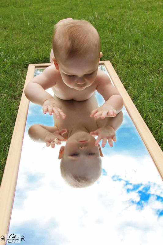 love the blue sky, green grass capture for a smaller, non-sitting baby