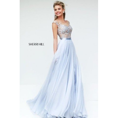 2014 Sherri Hill 11151 Off Shoulder A Line Prom Dress Light Blue