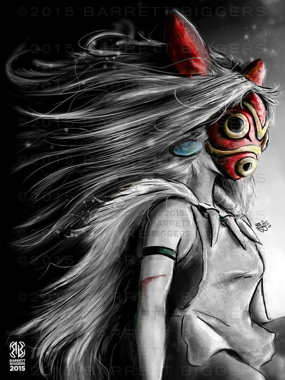 Princesse Mononoke San Fury peinture numérique par barrettbiggers