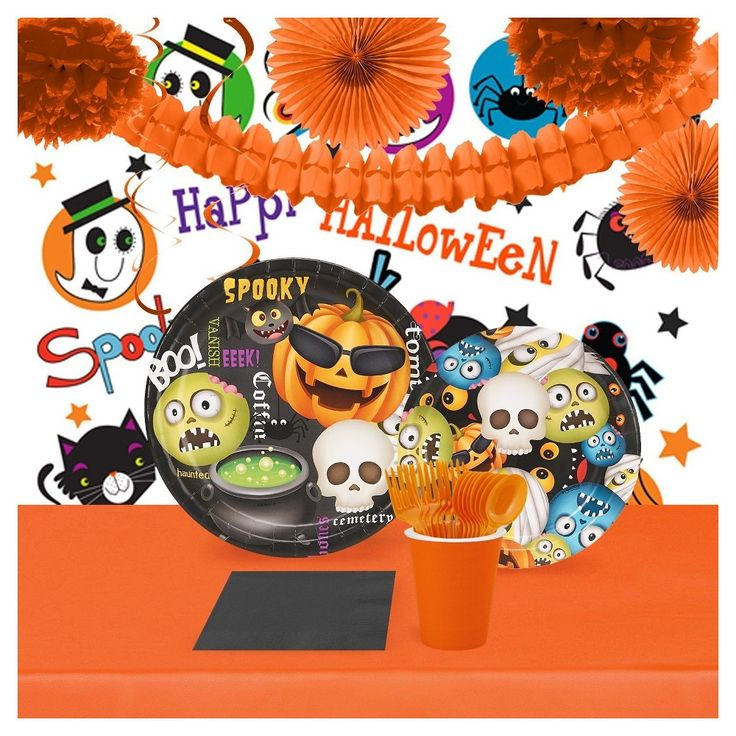 Halloween Emoji Tableware & Room Decoration - 16 Guest Kit,