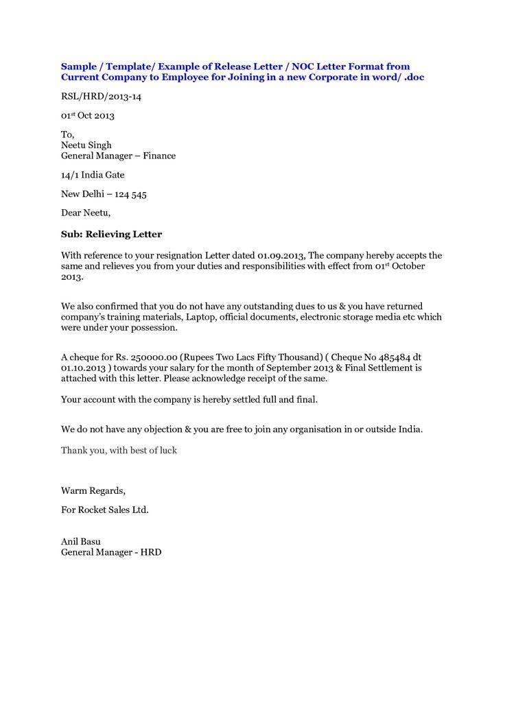 No Objection Letter Format For Employer Shopgrat  krishna