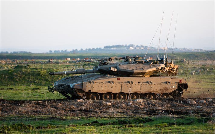 Télécharger fonds d'écran Merkava Mk4, un char Israélien, terrain, véhicules de combat, des véhicules blindés, les forces terrestres, Israël