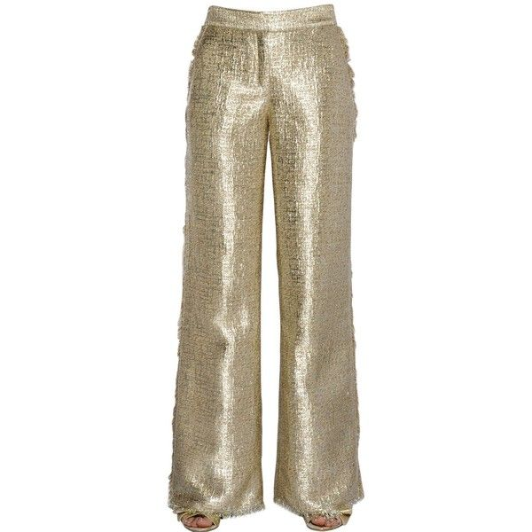 Gianluca Capannolo Women Fringed Flared Lurex Tweed Pants ($440) ❤ liked on Polyvore featuring pants, gold, flare pants, tweed pants, brown trousers, flare trousers and brown tweed pants