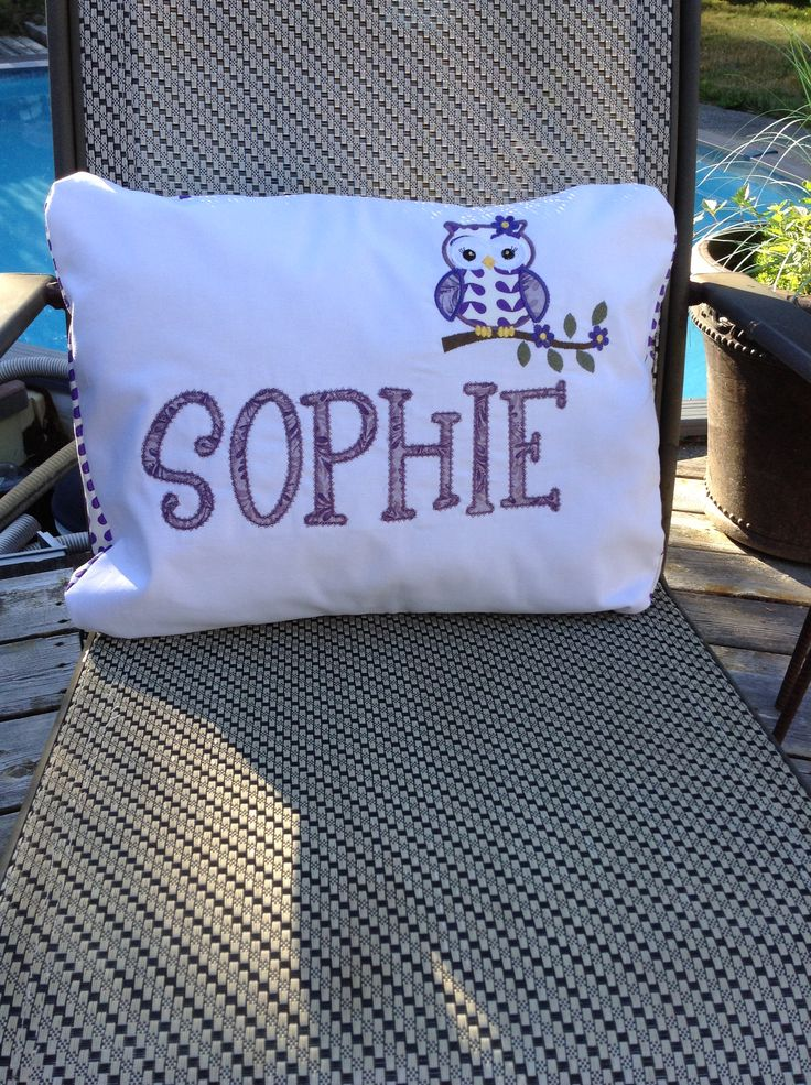 Cotton pillow with owl appliqué and personalized to your request. To see more visit www.facebook.com/MichellesSewbiz