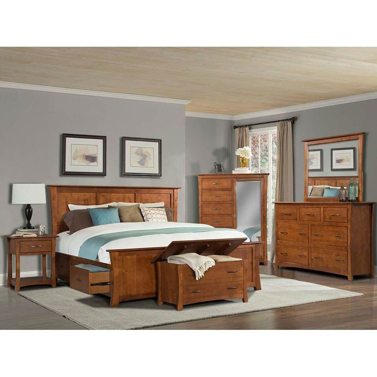 A America Furniture Grant Park Panel With Storage Bedroom Set In Pecan