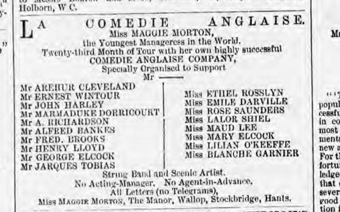 Henry Lloyd The Era 28 Nov 1880 in cast of La Comedie Anglaise