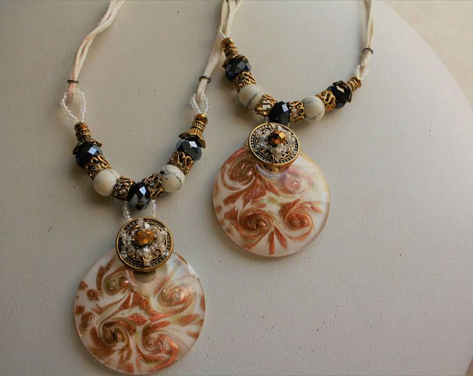Special White and Gold Murano Glass pendant necklaces, lampwork, venetian jewellery. Ladies, girls, statement pieces vintage and unique
