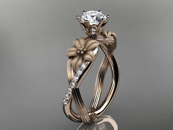 Unique 14kt rose gold diamond leaf and vine wedding ring,engagement ring