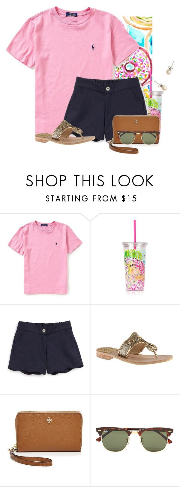 """Donuts and milk"" by flroasburn on Polyvore featuring Ralph Lauren, Lilly Pulitzer, Oscar de la Renta, Jack Rogers, Tory Burch, Ray-Ban and J.Crew"