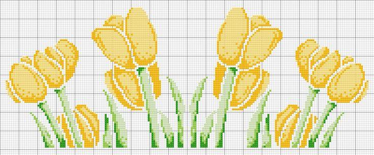 tulipani gialli - http://schemiapuntocroce.blogspot.it/2013/05/schema-punto-croce-tulipani.html