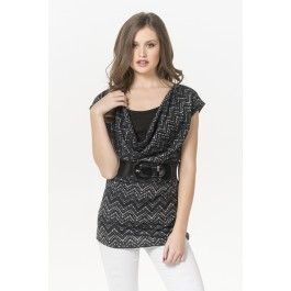 Black & white zigzag cowl neck belted top paired with Denizen Essential stretch modern skinny