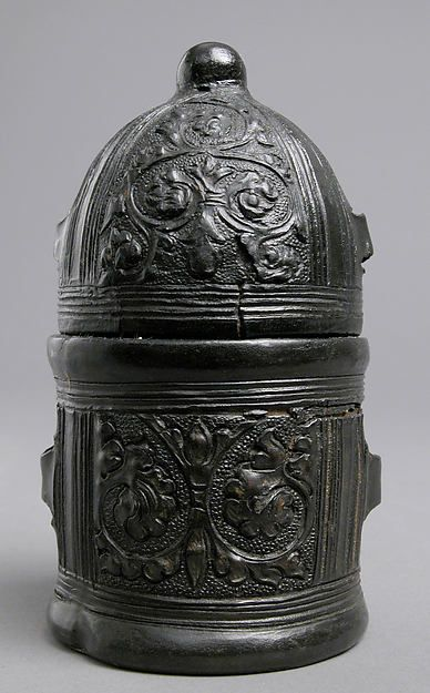 Box Date: 15th century Culture: Italian Medium: Leather (Cuir bouilli), on wood core with textile interior, traces of gilding Dimensions: Overall: 4 3/4 x 2 5/8 in. (12 x 6.7 cm) Classification: Leatherwork