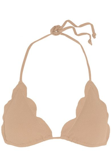 Marysia - Broadway Scalloped Triangle Bikini Top - Sand - x small