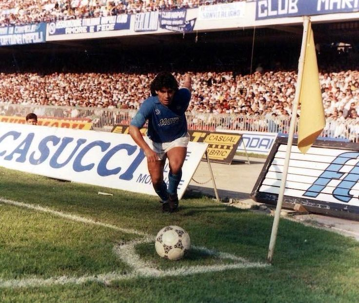 Napoli's Diego Maradona prepares to take a corner.