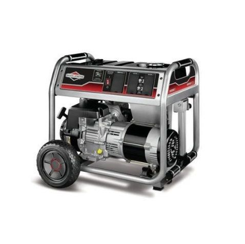 Briggs and Stratton 5000 Watt Generator http://www.blog.barrettsmallengine.com/2013/11/briggs-and-stratton-5000-watt-generator.html Hardworking, reliable home back-up power generator. Powered by a Briggs and Stratton 1650 Series OHV engine for long life, high performance, and great fuel efficiency. The Power Surge alternator produces up to 25% more surge wattage to start large motor-driven appliances and tools simultaneously.