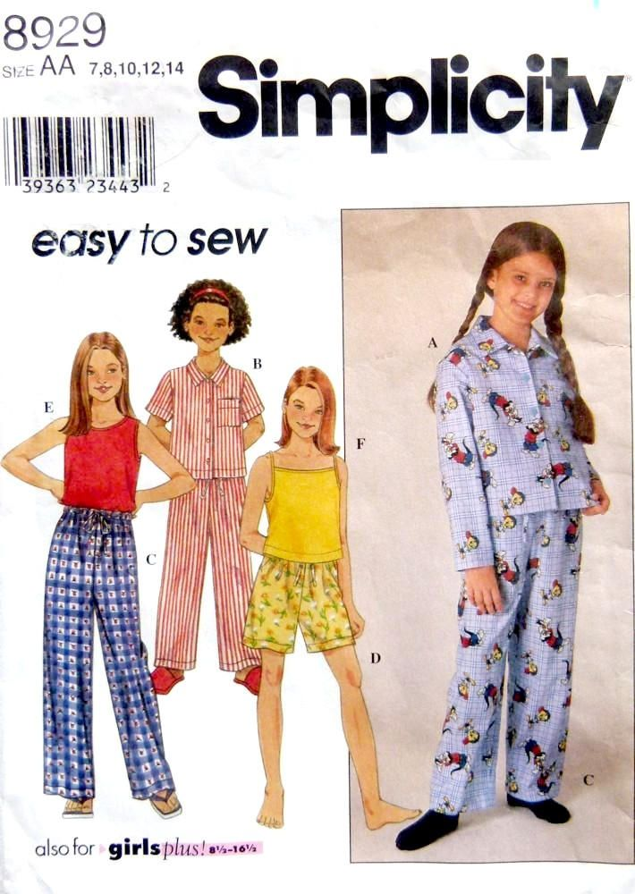 Simplicity 8929, Girls' Plus Size Pajamas & Tank Top,  Pullover Top and Shorts,  Plus Sizes 7,8,10,12,14,14 by LaraineRoseHandiWorx on Etsy