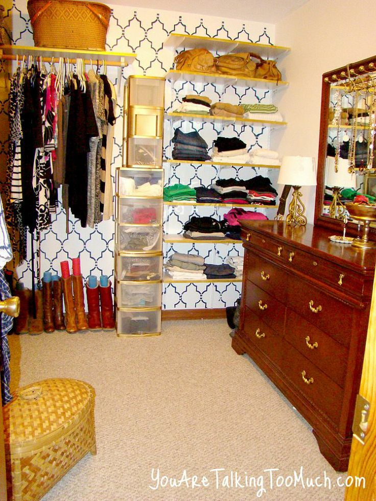 Walk-in Closet Organizing idea for less..