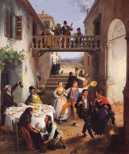 Angelo Inganni, Festa di nozze in un cortile, 1873, Trieste, Museo Civico Revoltella ANGELO INGANNI (Brescia, 1807 – Gussago, 1880)   #TuscanyAgriturismoGiratola