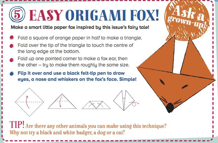 Create an easy origami fox inspired by our Fantastic Fox fairy tale from Storytime Issue 23! ~ STORYTIMEMAGAZINE.COM