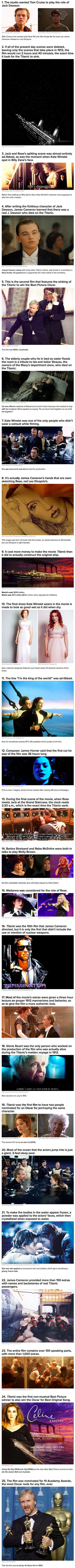 Some very interesting facts you may want to know if you're a fan of the movie Titanic, starring Leonardo DiCaprio, Kate Winslet and hundreds more! -PurpleCloud474