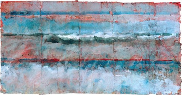 Mary Ellen Doyle,   Breaking Waves, 2003,  watercolor, lithopencil, gouache on glued handmade paper,   12 1/4 x 24 inches