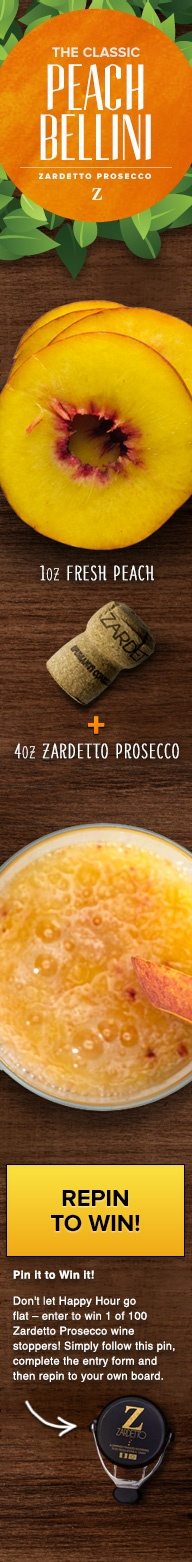 Don't let Happy Hour go flat - enter to win 1 of 100 Zardetto Prosecco wine stoppers! Simply follow this pin, complete the entry form and then re-pin to your own board.