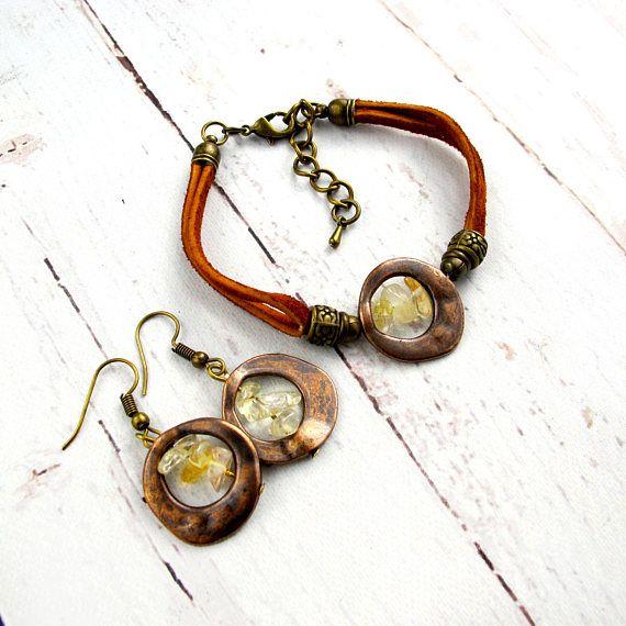 November Birthstone Jewelry-Raw Citrine-November Birthday Gift-Citrine Earrings-Christmas Gifts For Women-Gemstone Jewelry Set-Gift for Her $19.99