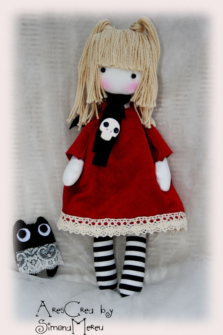Luna #handmade #gothic #doll with her plush monster by AresCrea on Facebook.