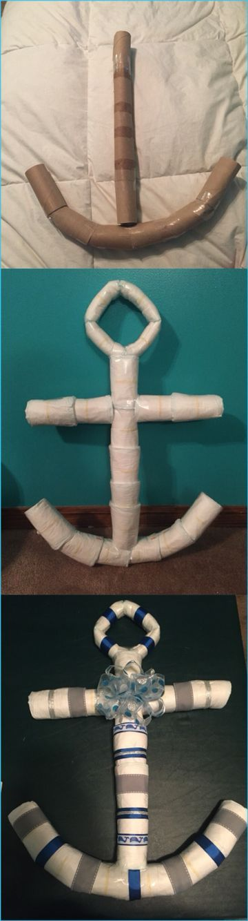 DIY Nautical anchor diaper cake made for a child bathe⚓️...