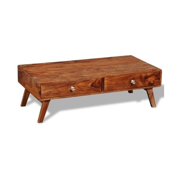 wood Solid Sheesham Wood Coffee Table 4 Drawers Vintage Retro 35 cm -... ($181) ❤ liked on Polyvore featuring home, furniture, tables, accent tables, sheesham table, sheesham wood coffee table, sheesham wood furniture, sheesham coffee table and home wood furniture