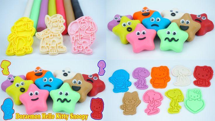Learn Colors Play Doh Stars Smiley Face Doraemon Hello Kitty Snoopy – EL...