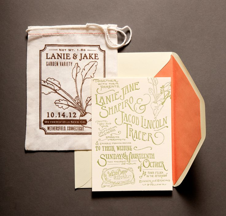 "Lady Fingers Letterpress     This unique invitation suite by  Lady Fingers Letterpress  gives new meaning to ""garden variety""."