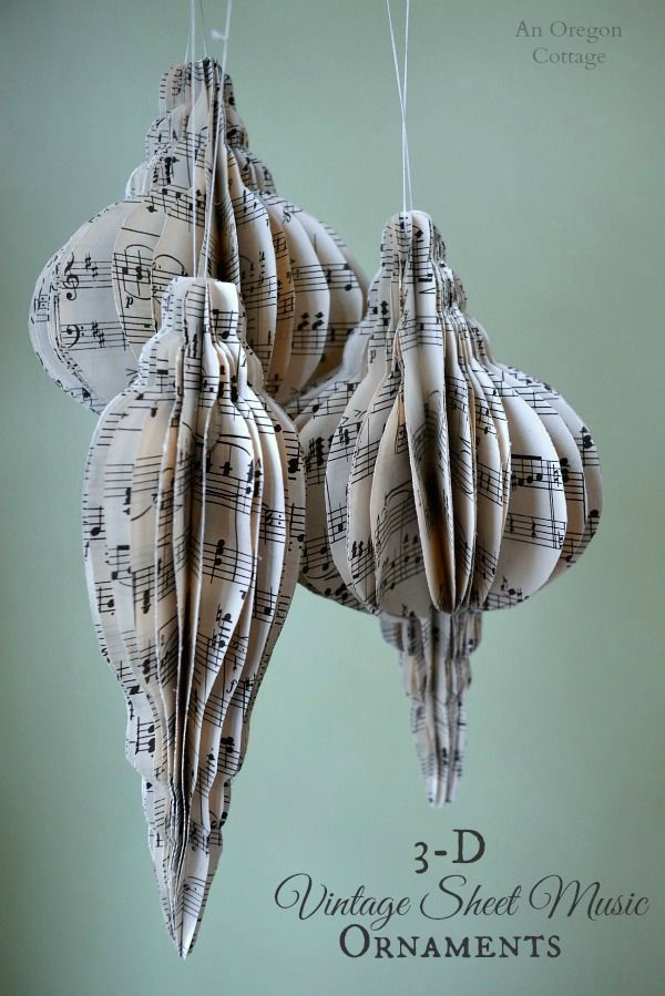 3-D Vintage Sheet Music Ornaments are fun and easy: http://anoregoncottage.com/3-d-vintage-sheet-music-ornaments-tutorial/