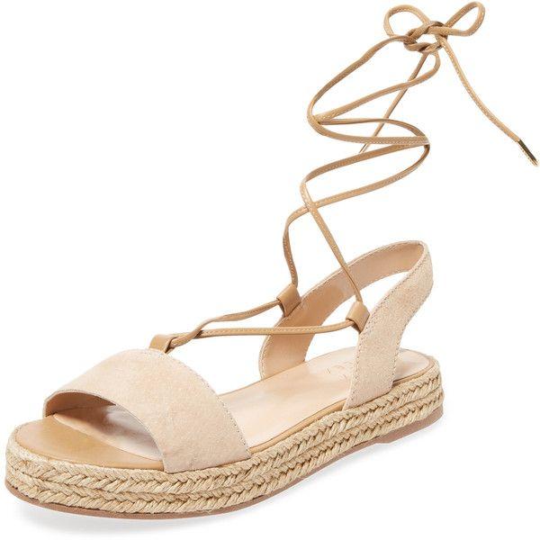 Alex + Alex Women's Lace-Up Espadrille Sandal - Cream/Tan - Size 10 found on Polyvore featuring shoes, sandals, braided sandals, ankle tie flat sandals, open toe sandals, espadrille sandals and flat shoes