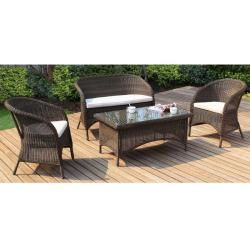 @Overstock.com - Mocha Brown Outdoor 4-piece Rattan Furniture Set - This beautiful outdoor furniture set features a woven construction in a rich, mocha finish. Naturally weather and mold resistant, this furniture set retains its strength and beauty for years to come.  http://www.overstock.com/Home-Garden/Mocha-Brown-Outdoor-4-piece-Rattan-Furniture-Set/5971731/product.html?CID=214117 $611.99